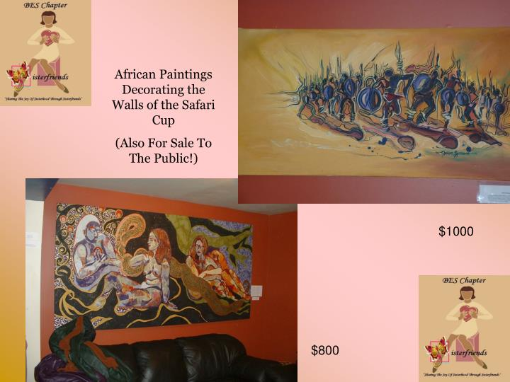 African Paintings Decorating the Walls of the Safari Cup