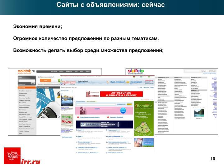 Сайты с объявлениями: сейчас