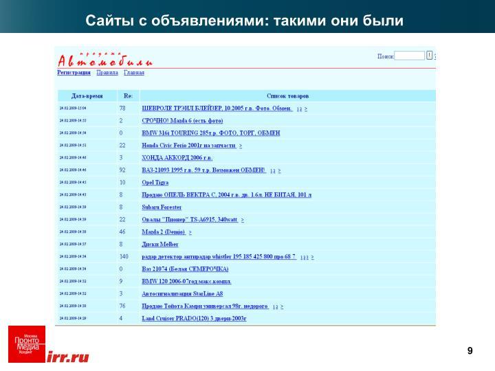 Сайты с объявлениями