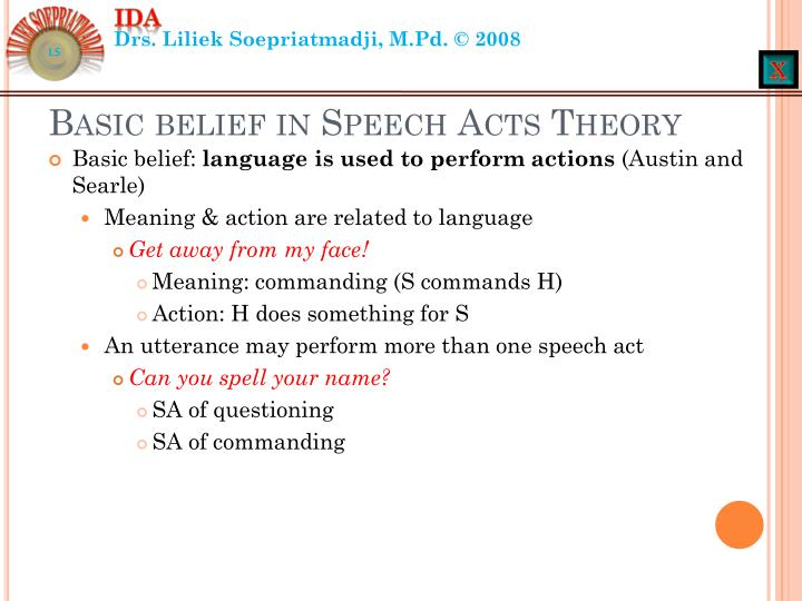 Basic belief in speech acts theory