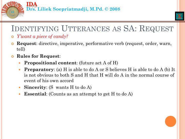 Identifying Utterances as SA: Request