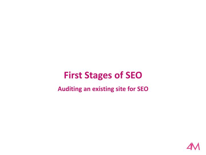 First Stages of SEO