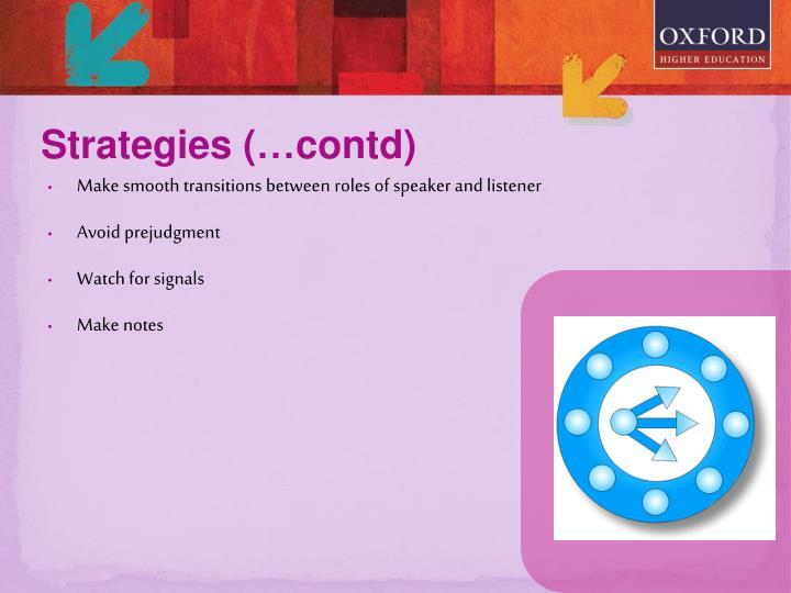 Strategies (…contd)