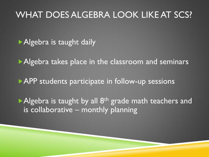 What does Algebra look like at SCS?