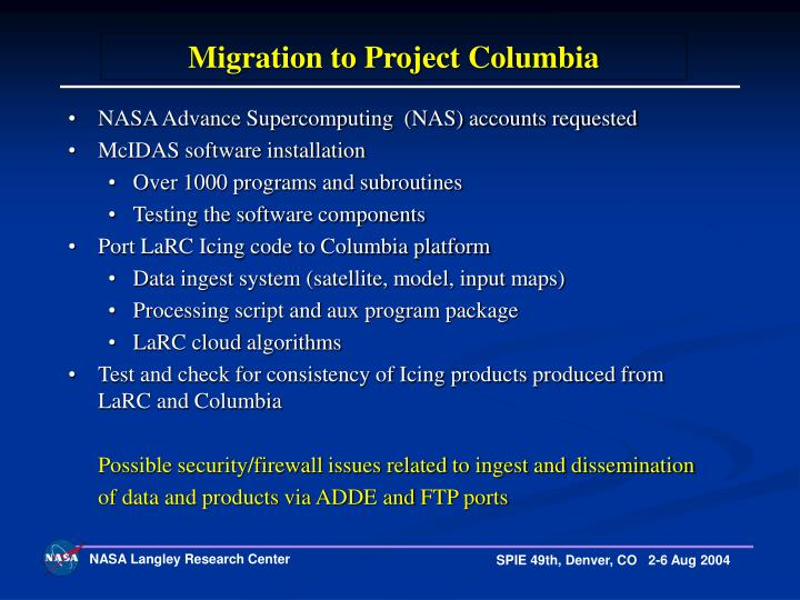 Migration to Project Columbia