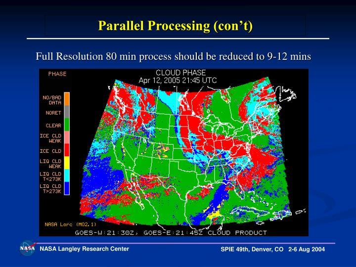 Parallel Processing (con't)