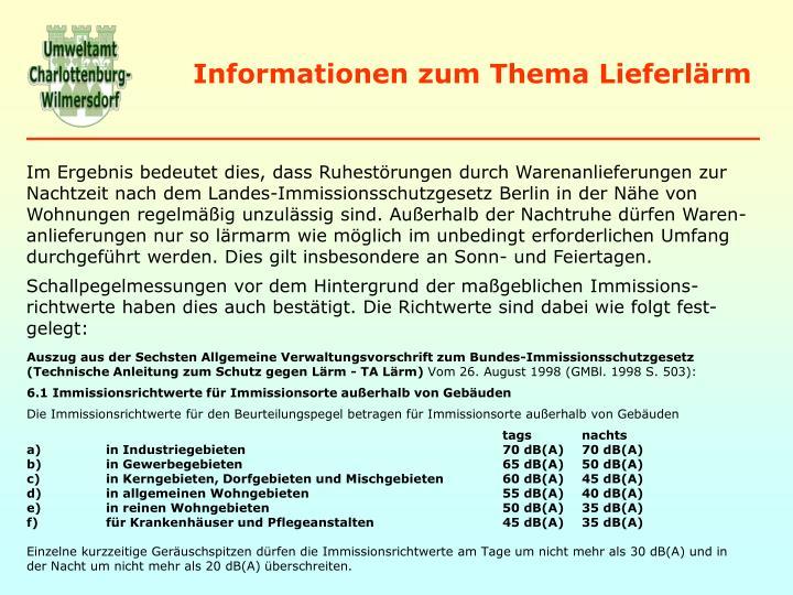 Informationen zum Thema Lieferlärm