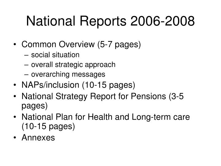 National Reports 2006-2008