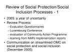 review of social protection social inclusion processes 1