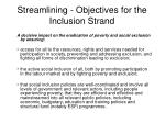 streamlining objectives for the inclusion strand