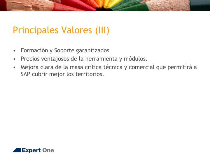 Principales Valores (III)