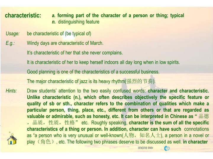 characteristic: