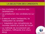 la selection des candidats