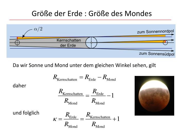 Größe der Erde : Größe des Mondes