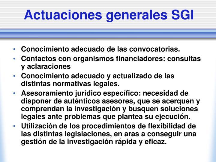 Actuaciones generales SGI
