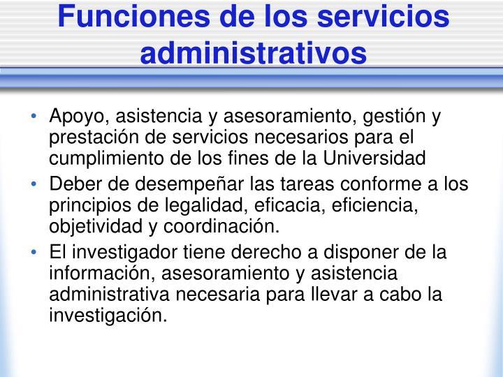 Funciones de los servicios administrativos