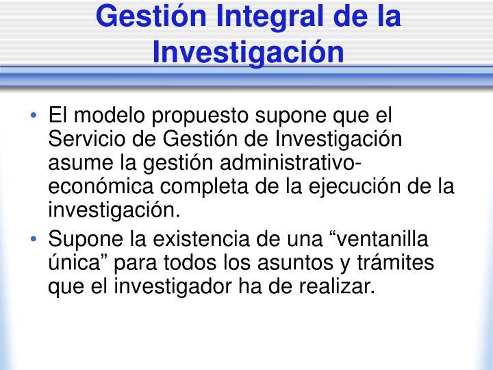 Gestión Integral de la Investigación