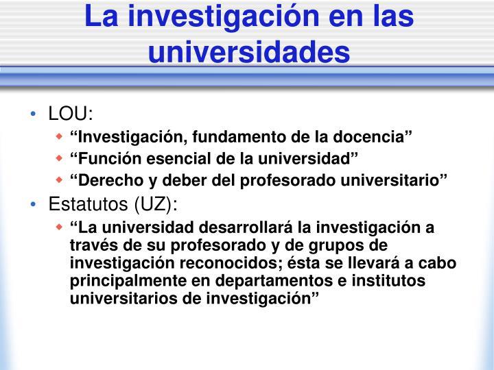 La investigación en las universidades