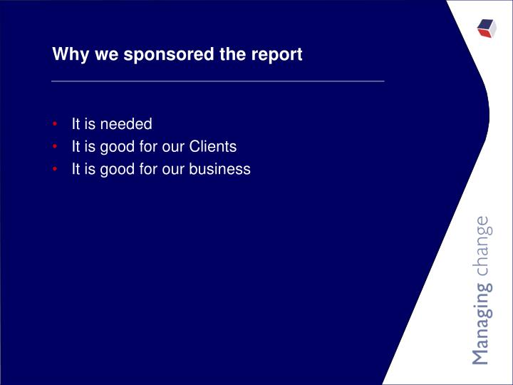 Why we sponsored the report