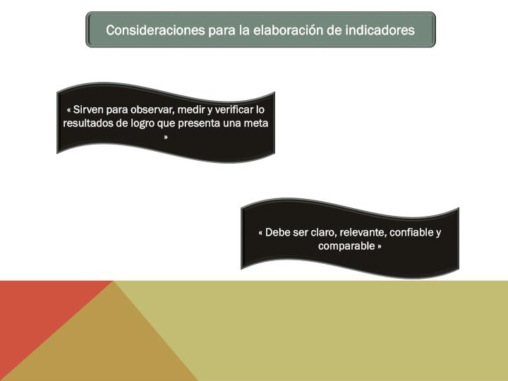 Consideraciones para la elaboración de indicadores