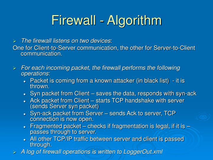 Firewall - Algorithm