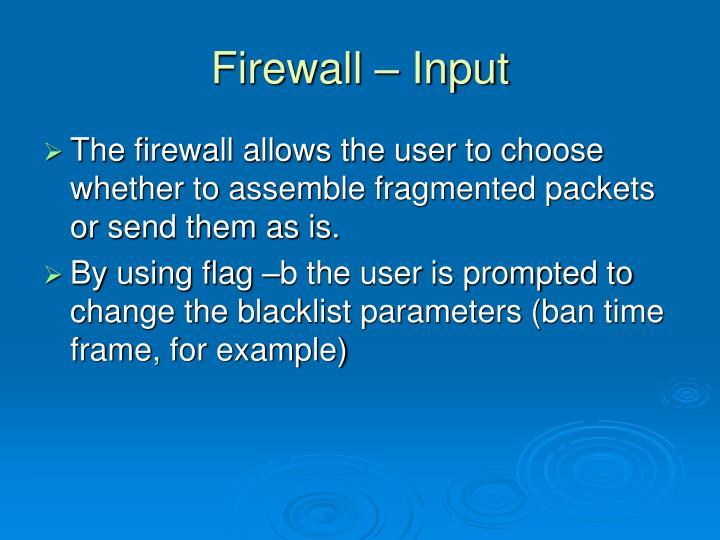 Firewall – Input
