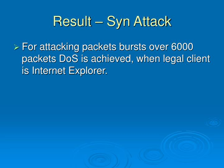 Result – Syn Attack