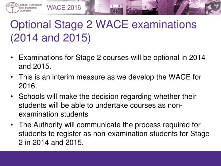 Optional Stage 2 WACE examinations