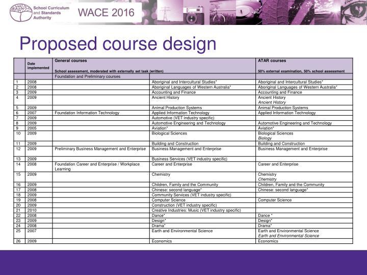 Proposed course design