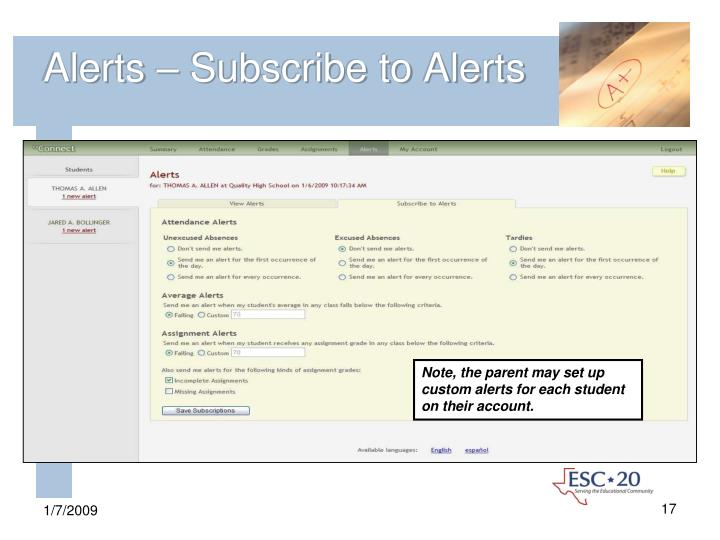 Alerts – Subscribe to Alerts