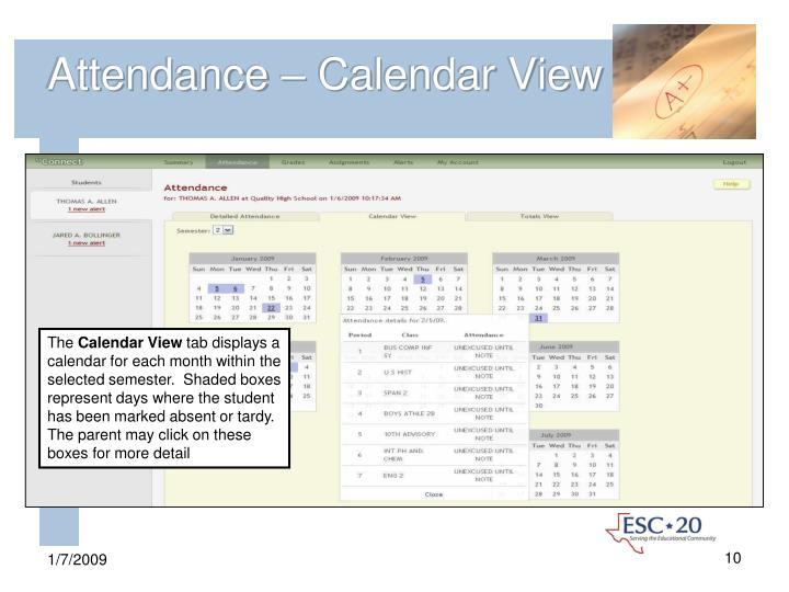 Attendance – Calendar View