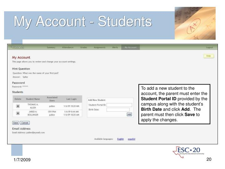 My Account - Students