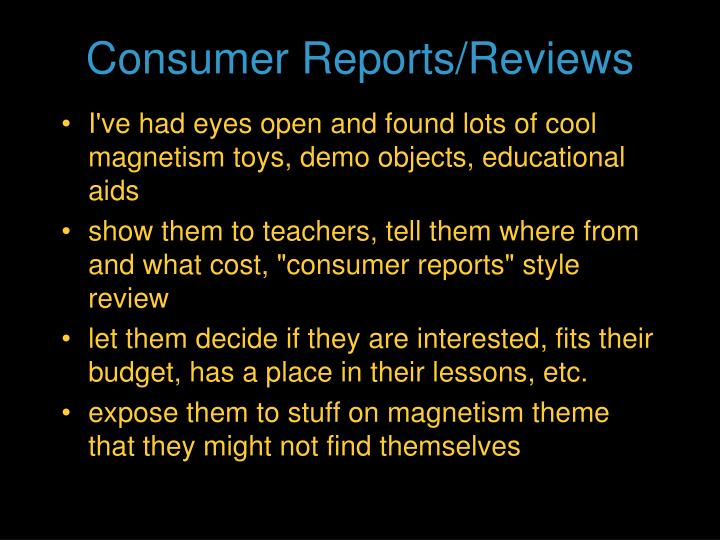Consumer Reports/Reviews