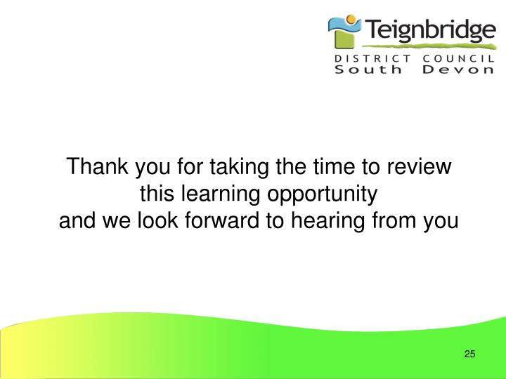 Thank you for taking the time to review this learning opportunity
