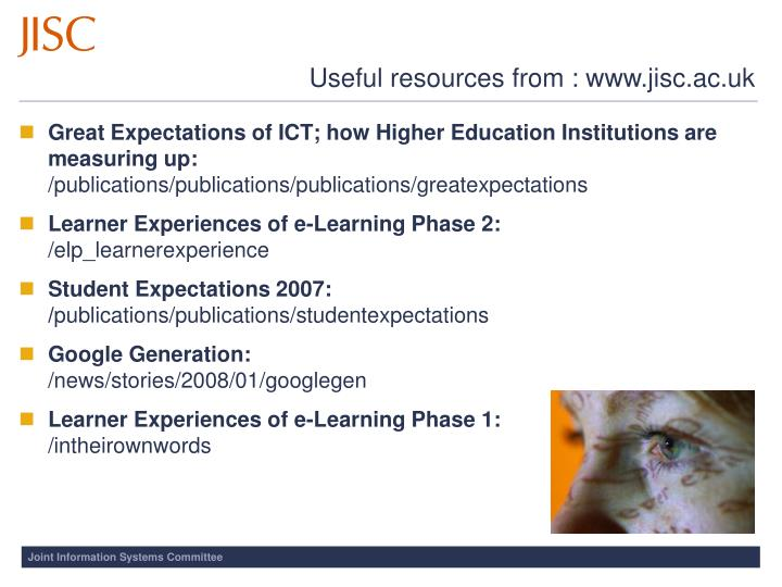 Useful resources from : www.jisc.ac.uk