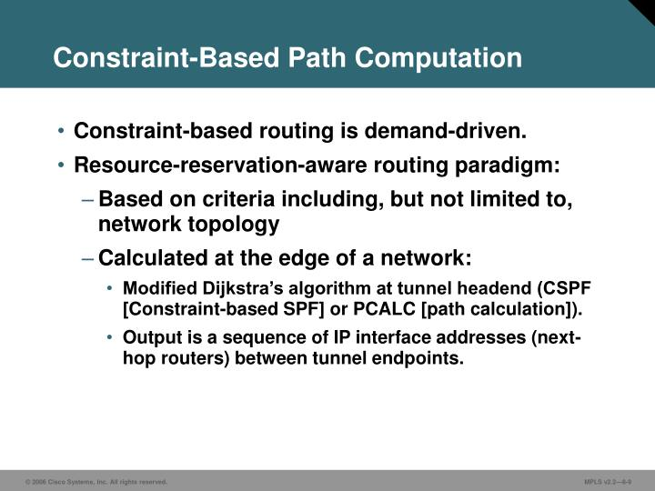 Constraint-Based Path Computation