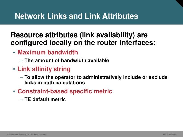 Network Links and Link Attributes