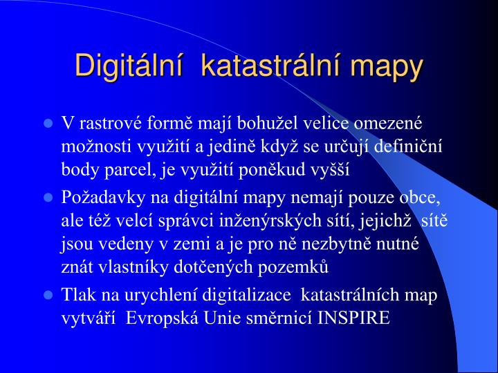 Digitální  katastrální mapy