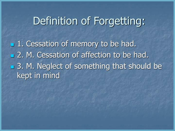 Definition of Forgetting:
