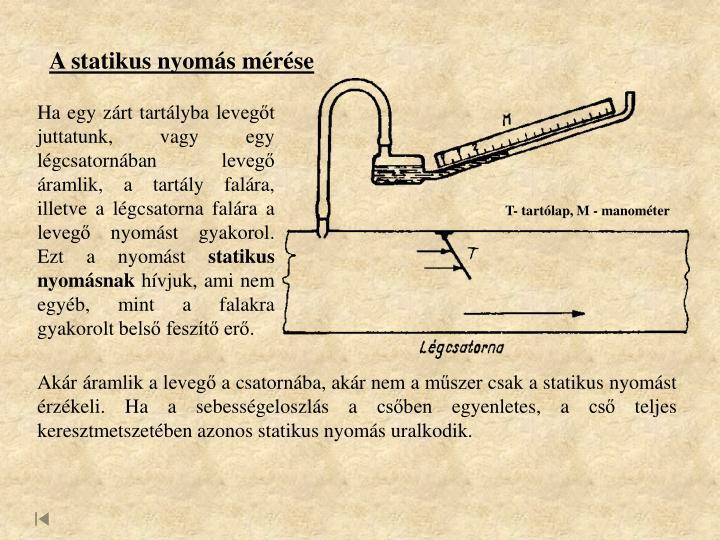 A statikus nyomás mérése