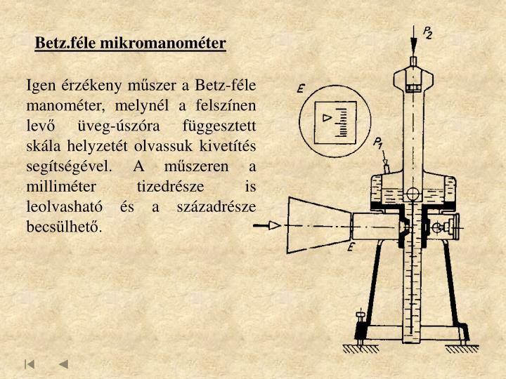 Betz.féle mikromanométer