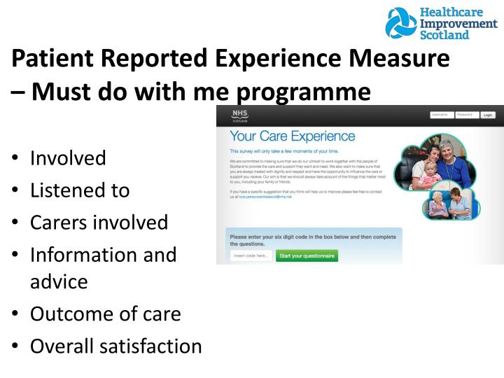 Patient Reported Experience Measure – Must do with me programme