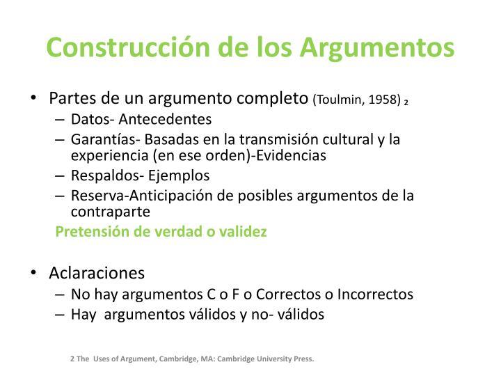Construcción de los Argumentos