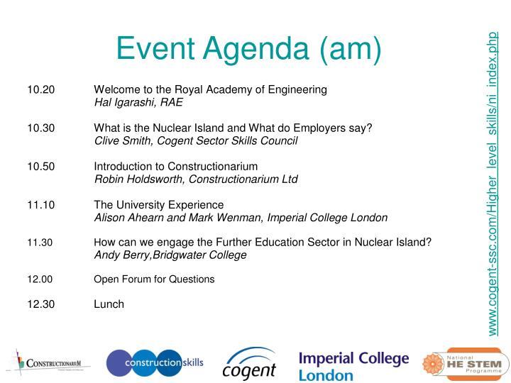 Event Agenda (am)