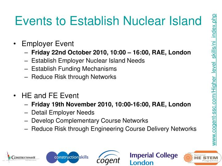 Events to Establish Nuclear Island