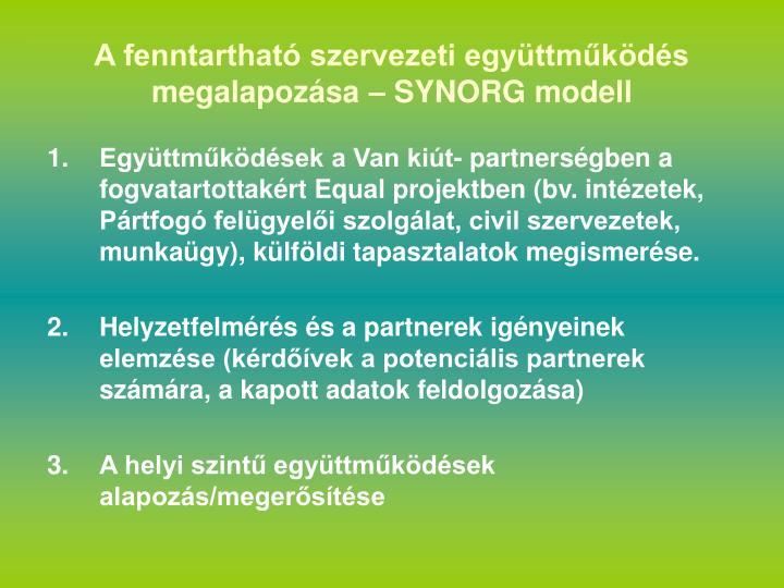 A fenntartható szervezeti együttműködés megalapozása – SYNORG modell
