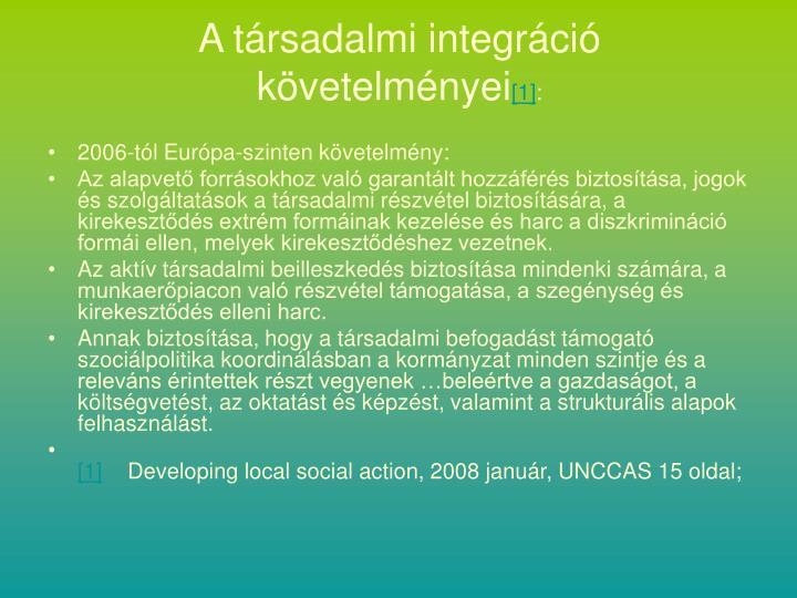 A társadalmi integráció