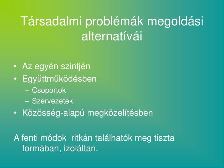 Társadalmi problémák megoldási