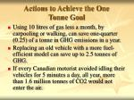 actions to achieve the one tonne goal1