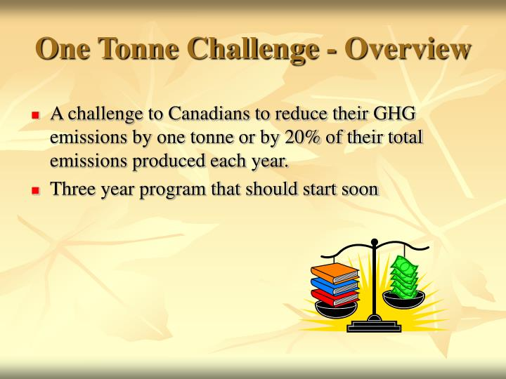One tonne challenge overview
